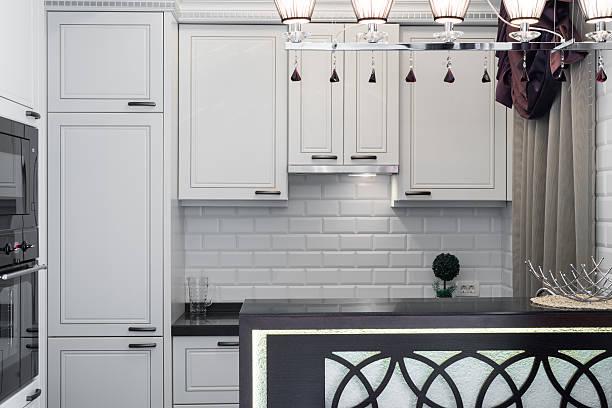 Lodów do zabudowy w białej kuchni